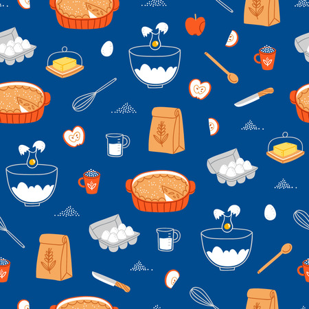 homemade cake: Apple pie ingredients seamless pattern on blue background