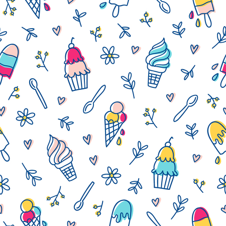 take away: Ice cream and botanical seamless pattern