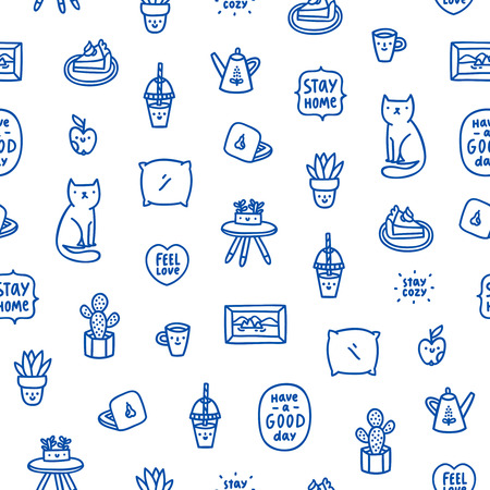 Stay home seamless pattern about freelance working in a comfortable home atmosphere. Illustration