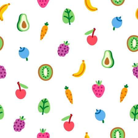Veggies and fruits cartoon seamless pattern