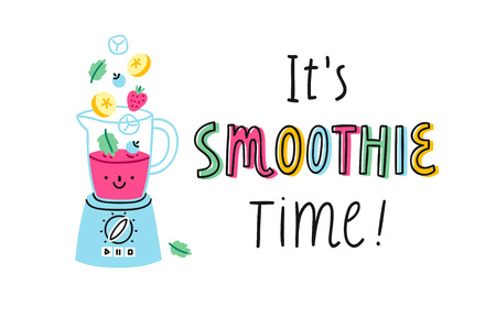 It's smoothie time! Vector cartoon illustration 일러스트