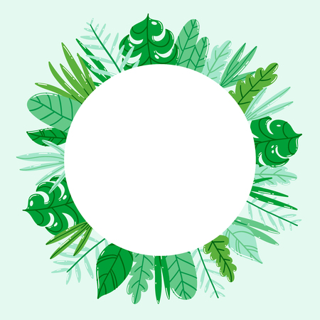 Circle jungle nature frame vector template Illustration