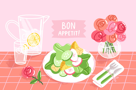 Bon appetit vector illustration of table with salad, roses and lemonade