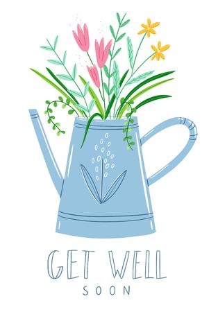 Get well soon floral card, vector illustration Stock Illustratie