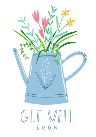 Get well soon floral card, vector illustration Illustration