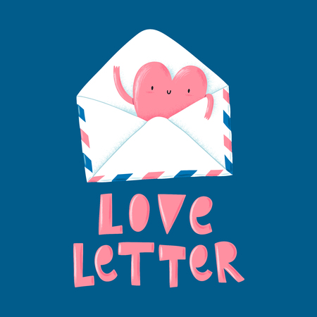 wedding couple: Lovely cartoon heart character from post letter, vector illustration