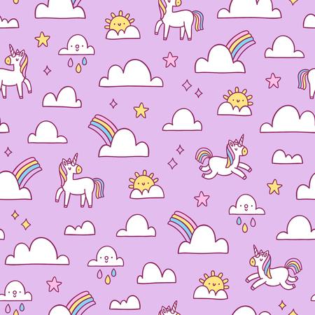 Unicornios y arco iris de patrones sin fisuras