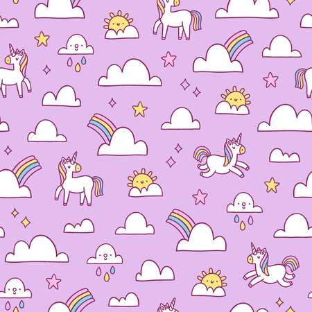 Unicorns and rainbows seamless pattern