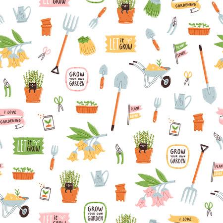 Garden theme vector seamless pattern
