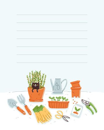 Template for taking notes, garden theme, vector illustration Illustration