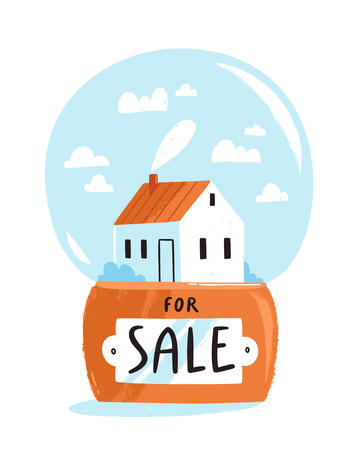 Real estate theme, house for sale isolated illustration