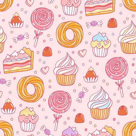 과자 및 과자 원활한 패턴 일러스트