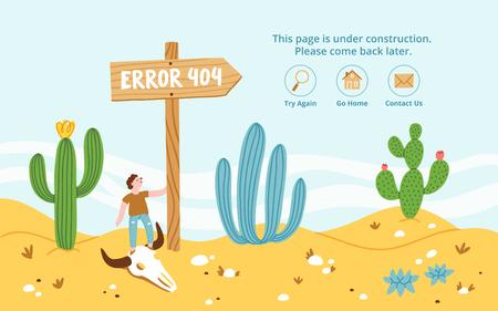 Error page in desert, vector illustration