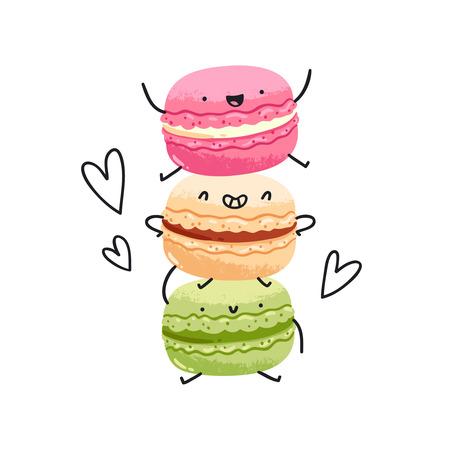 Crazy yummy macarons vector illustration