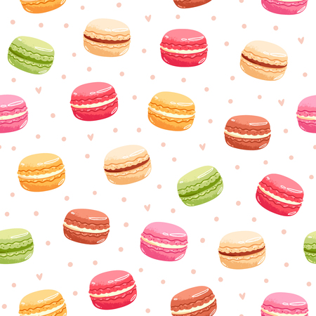 Colorful macarons seamless pattern