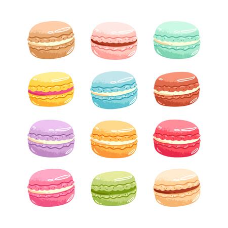Set of 12 colorful vector macarons Illusztráció