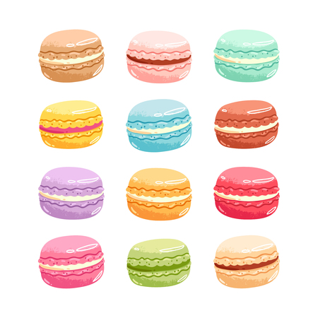 Set of 12 colorful vector macarons Illustration