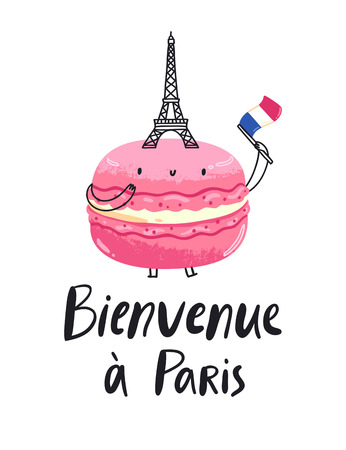 Welcome to Paris macaron character, vector illustration