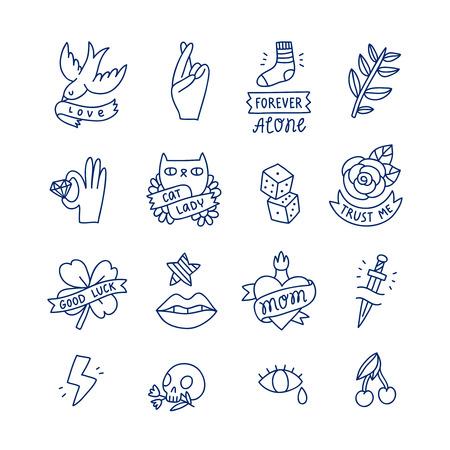 Cool doodle tattoo set, isolated vector illustrations Illusztráció
