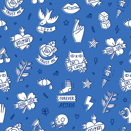 Cool doodle tattoo seamless pattern