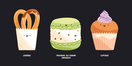 Churros, macaroon ice cream sandwich and cupcake isolated vector illustrations.