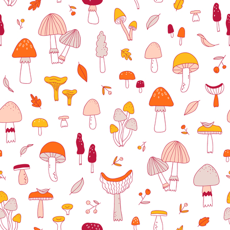 Doodle mushrooms seamless pattern. Illustration