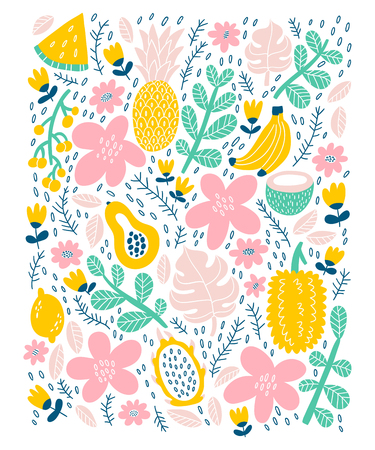 Exotic tropical fruits card, vector illustration.