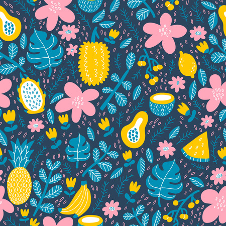 Exotic tropical fruits seamless pattern
