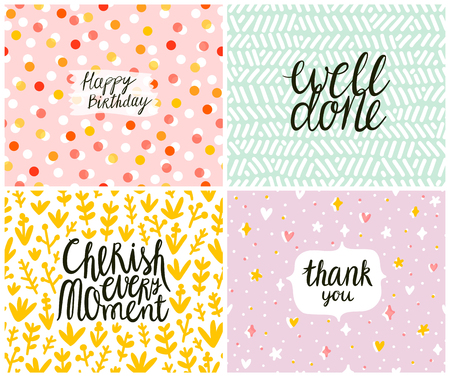 Set of 4 cards, seamless patterns at the background Çizim