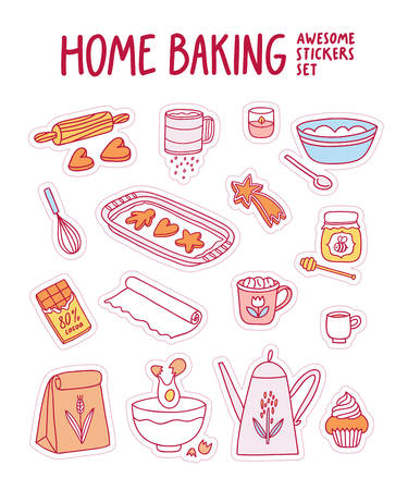 Home baking awesome vector stickers set Illustration