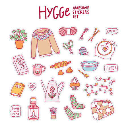 Hygge awesome stickers set, vector illustration Illustration