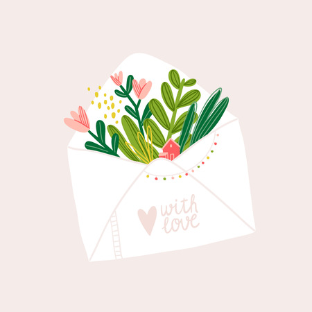Letter note cute vector illustration