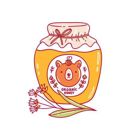 Organic honey jar vector illustration