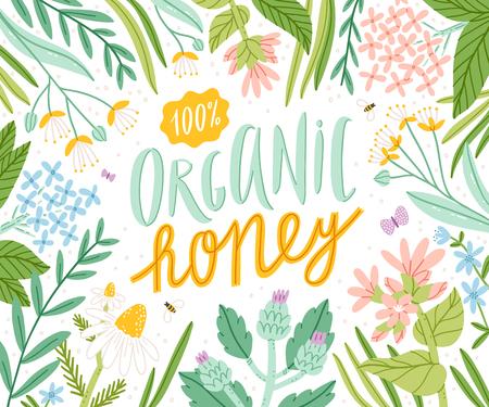 有機蜂蜜、包装ベクトルイラスト
