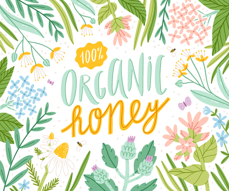 Organic honey, packaging vector illustration Illustration