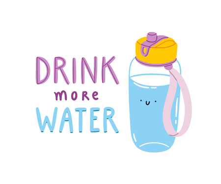 Drink more water, vector illustration