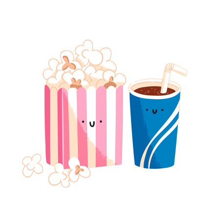 Popcorn and soda, vector cartoon characters