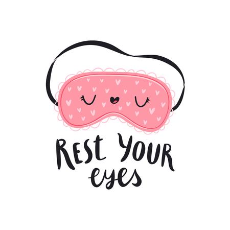 Descansa los ojos, ilustración vectorial con antifaz para dormir Foto de archivo - 99030590