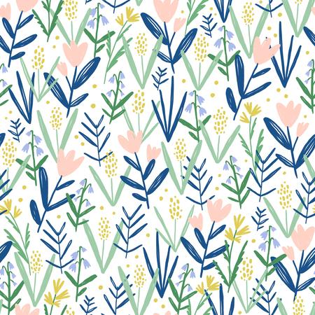 Wild flowers in my garden, seamless pattern 版權商用圖片