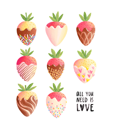 Strawberries in chocolate, all you need is love. Summer illustration
