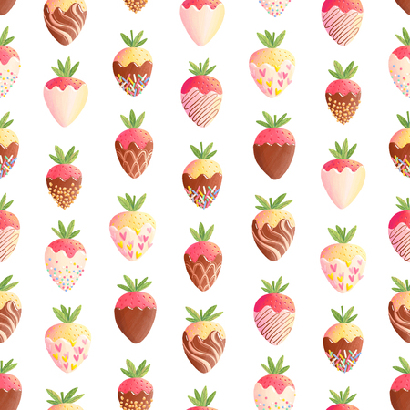 Strawberry in chocolate seamless pattern, tasty summer print