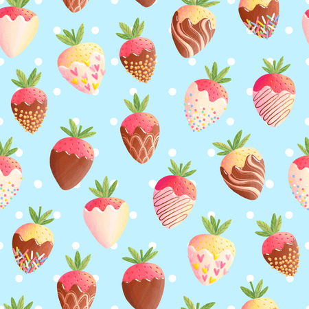 Strawberry in chocolate seamless pattern blue background