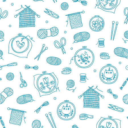 Knitting and stitching outlined seamless pattern