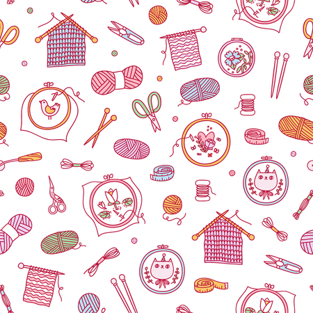 Knitting and stitching seamless pattern
