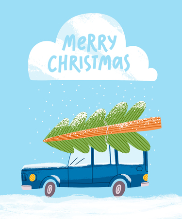 Merry Christmas greeting card with a car, vector illustration