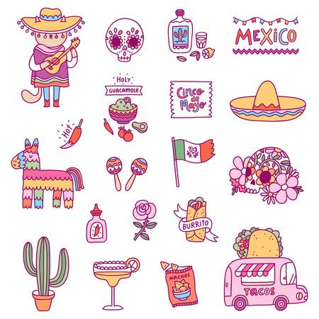 Mexican symbols, vector illustrations set Illusztráció