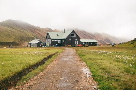 Landscape with Landmannalaugar campsite house