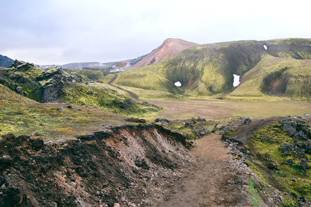 Trekking road, Landmannalaugar landscapes