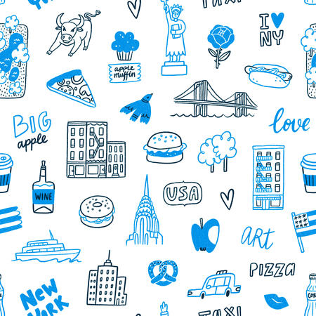 New York blue doodle seamless pattern