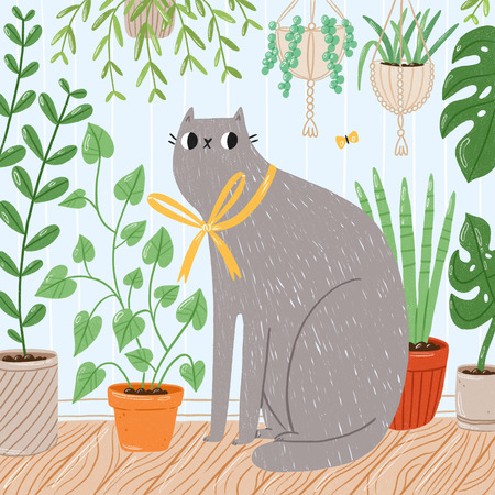 Cat with house plants illustration